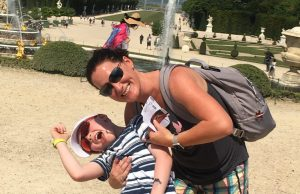 Lisa Bean and her son Gavin while in the Garden at Versailles in France
