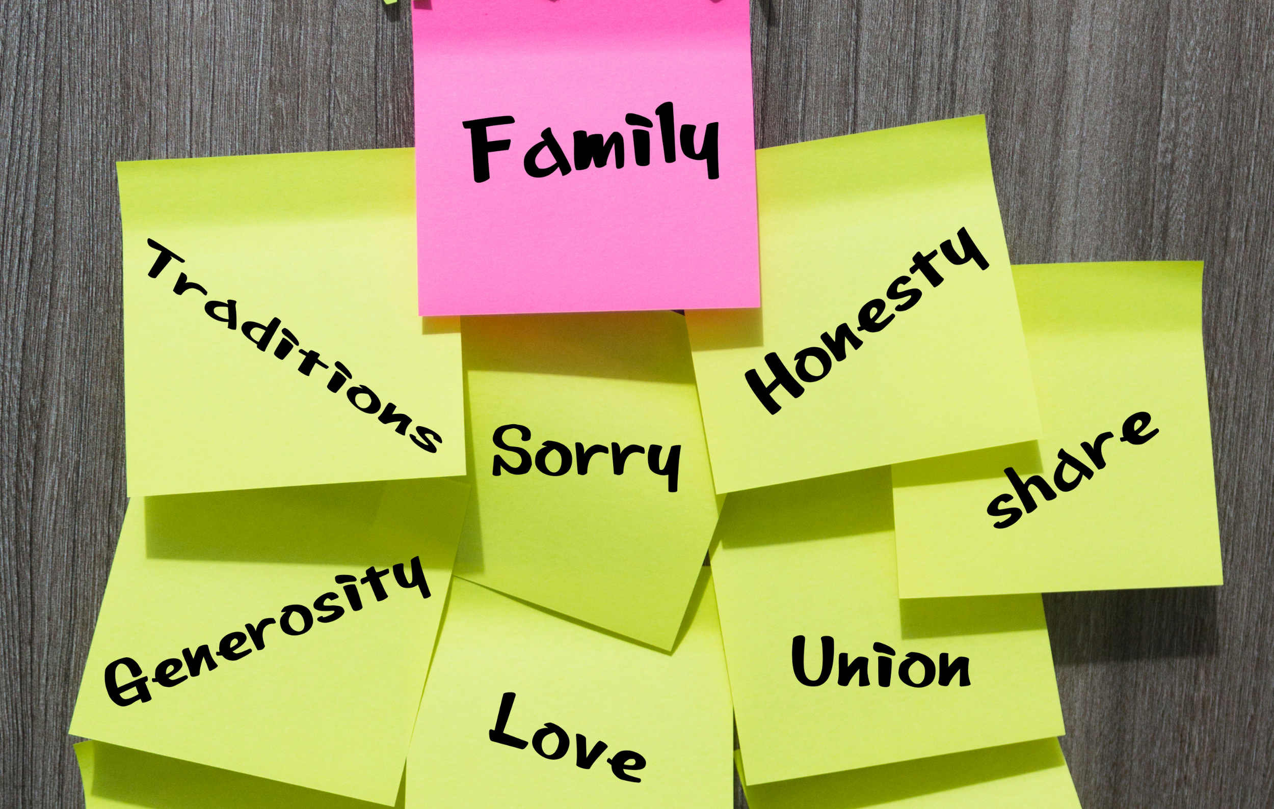 family values - sticky notes suggesting different values - sorry, honest, share, traditions, union, generosity